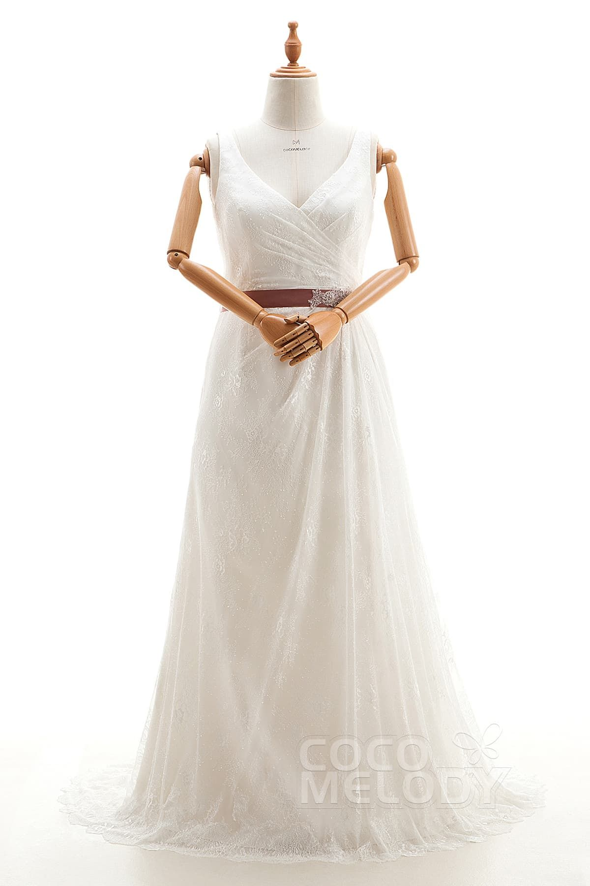 Noble vneck natural court train lace ivory sleeveless zipper with