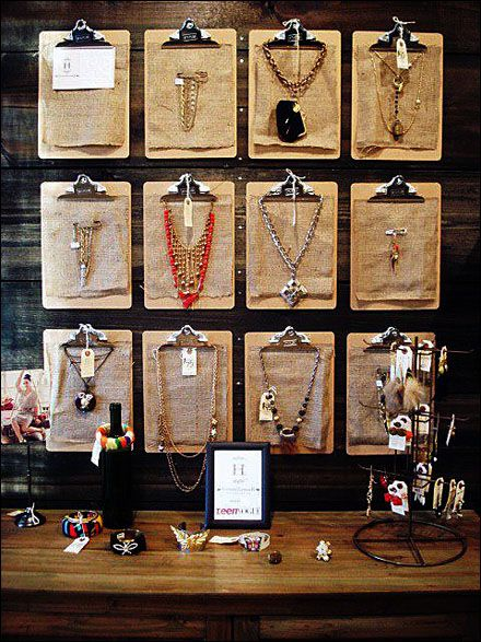 Clipboards as jewelry purveyor lots of ideas here you could also my idea is to use the hd clipboard add florals from clip and paper tag ribbons creative retail display idea clipboards jewelry do it yourself solutioingenieria Choice Image