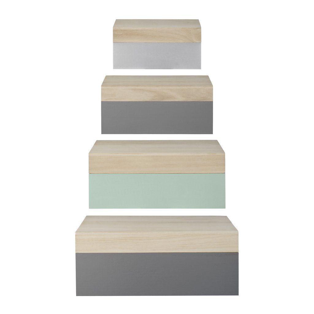 Úložné krabice z dreva (set 4 ks)