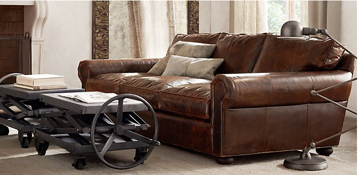 Relaxed Living Room With Leather Sofa And Industrial