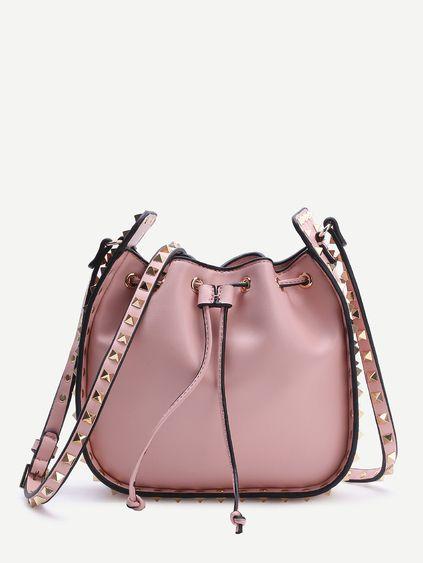 Pink Studded Design Drawstring PU Shoulder Bag