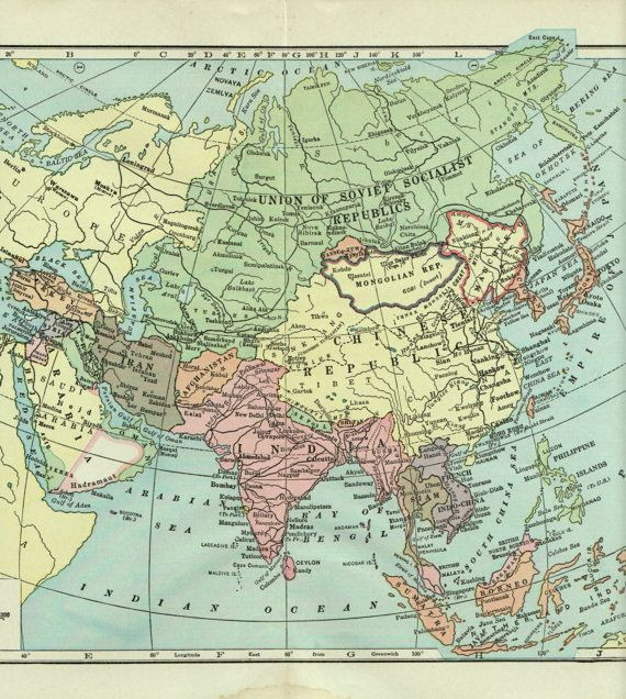 antique map ASIA 1936 map of Asia pre WW2 by theStoryOfVintage