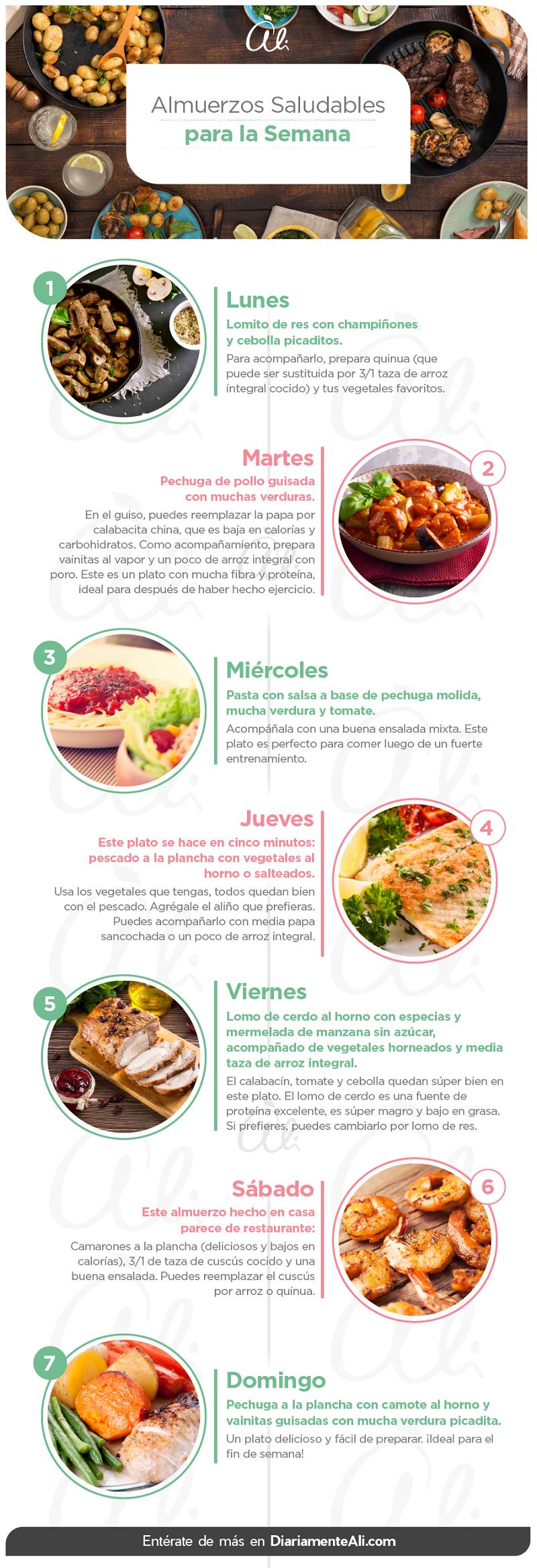 7 Almuerzos Saludables Para Toda La Semana Saludable Recetas Diariamente Ali Almuerzos Saludables Menu De Comida Saludable Comida Saludable Desayuno