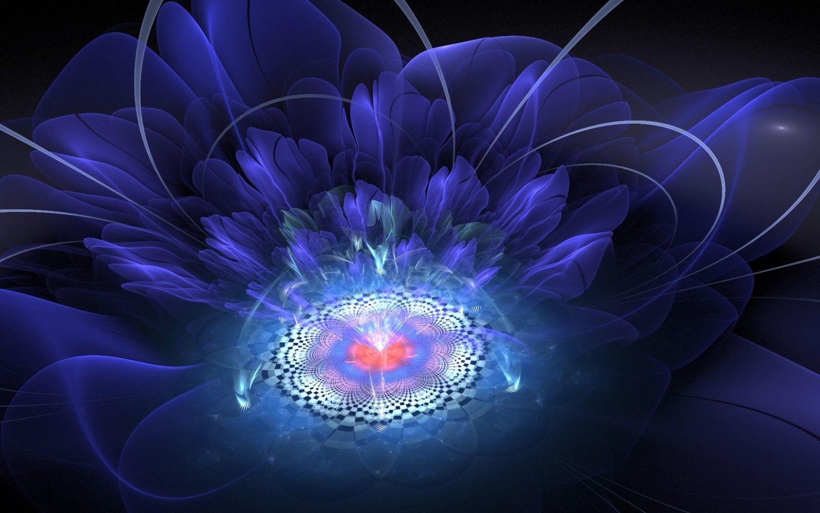 Обои цветок, свечение, фрактал, свет, абстракция. Абстракции foto 8