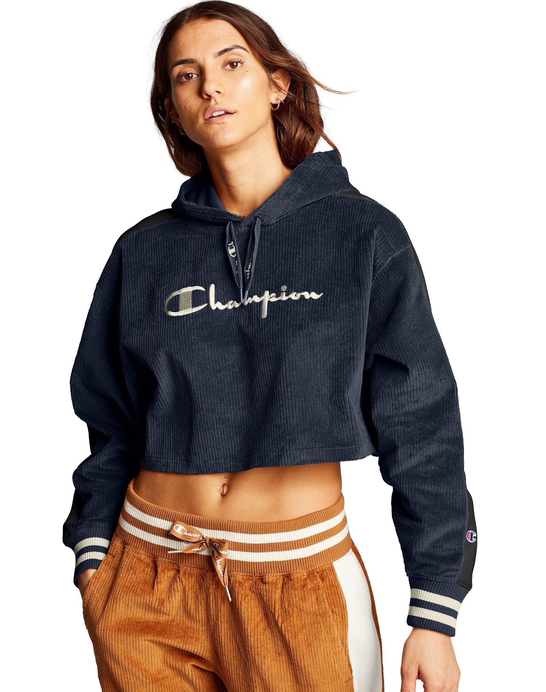 Women S Champion Life Corduroy Cropped Hoodie Embroidered Logo Navy Hoodies Cropped Hoodie Corduroy [ 2410 x 1900 Pixel ]