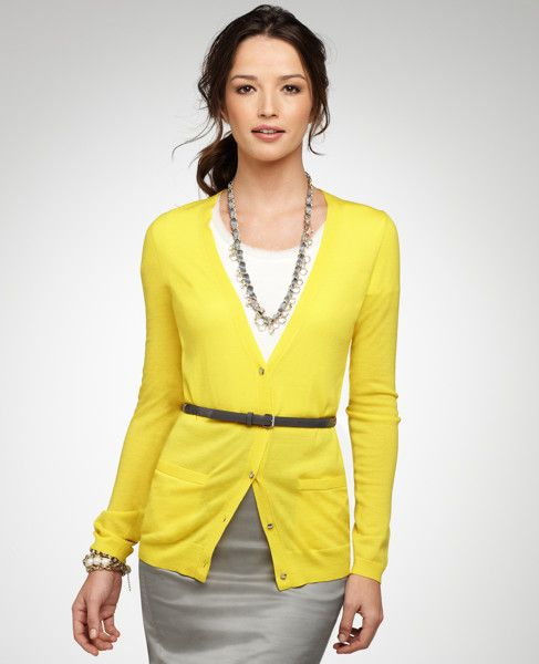 Lemon cardigan, white knit top, skinny brown belt, gray skirt ...