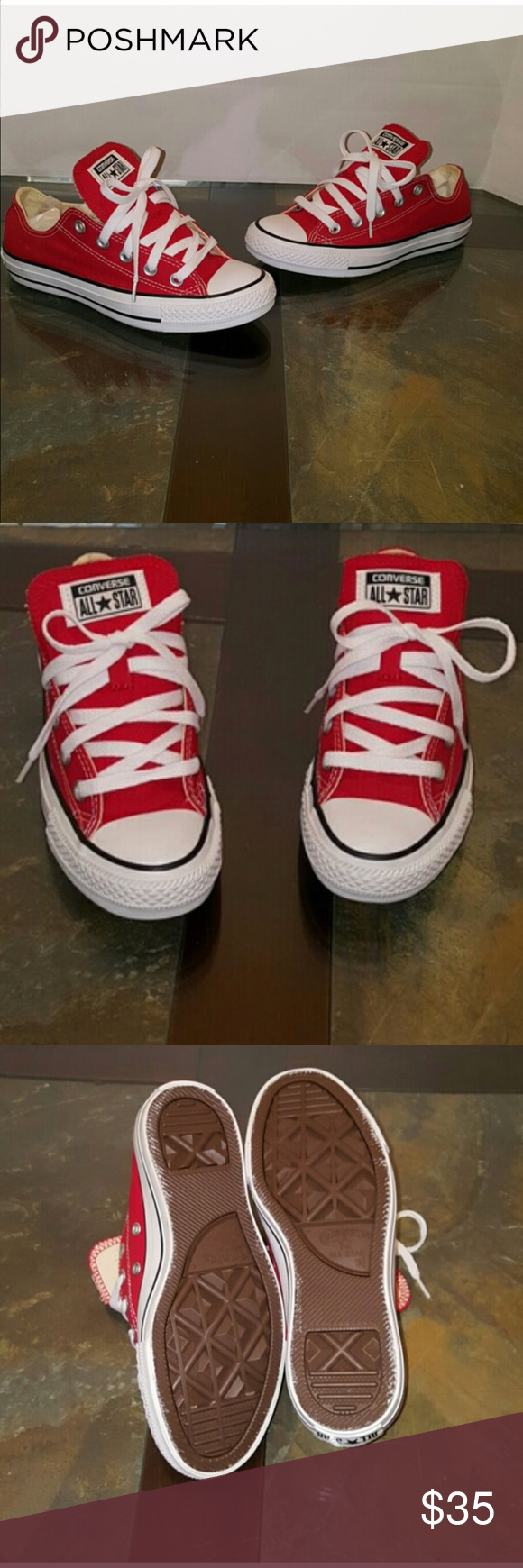 Red Converse - 3.5 men or 5.5 women Brand new, no trades. Converse Shoes Sneakers