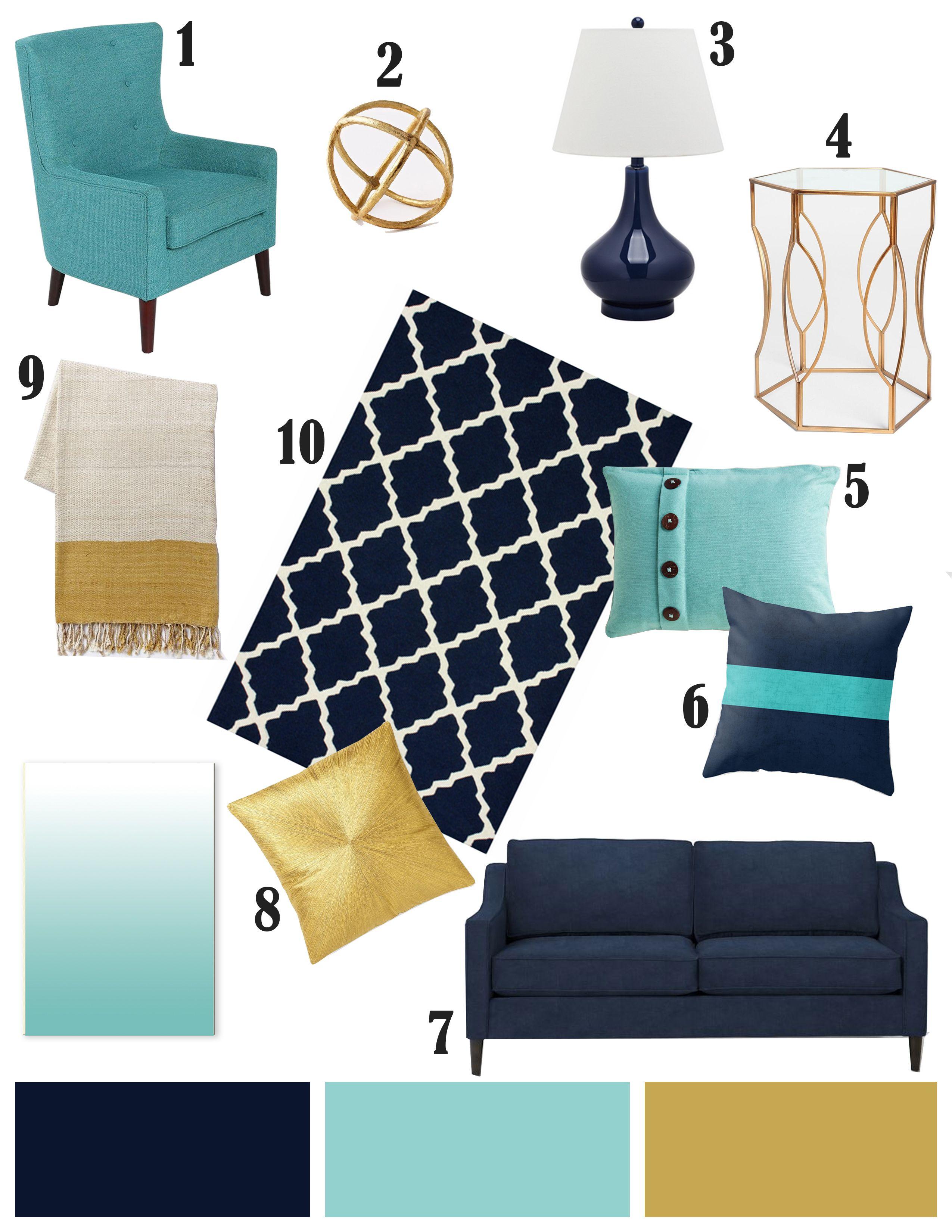 Color Inspiration Navy Aqua And Gold Gold Living Room Home