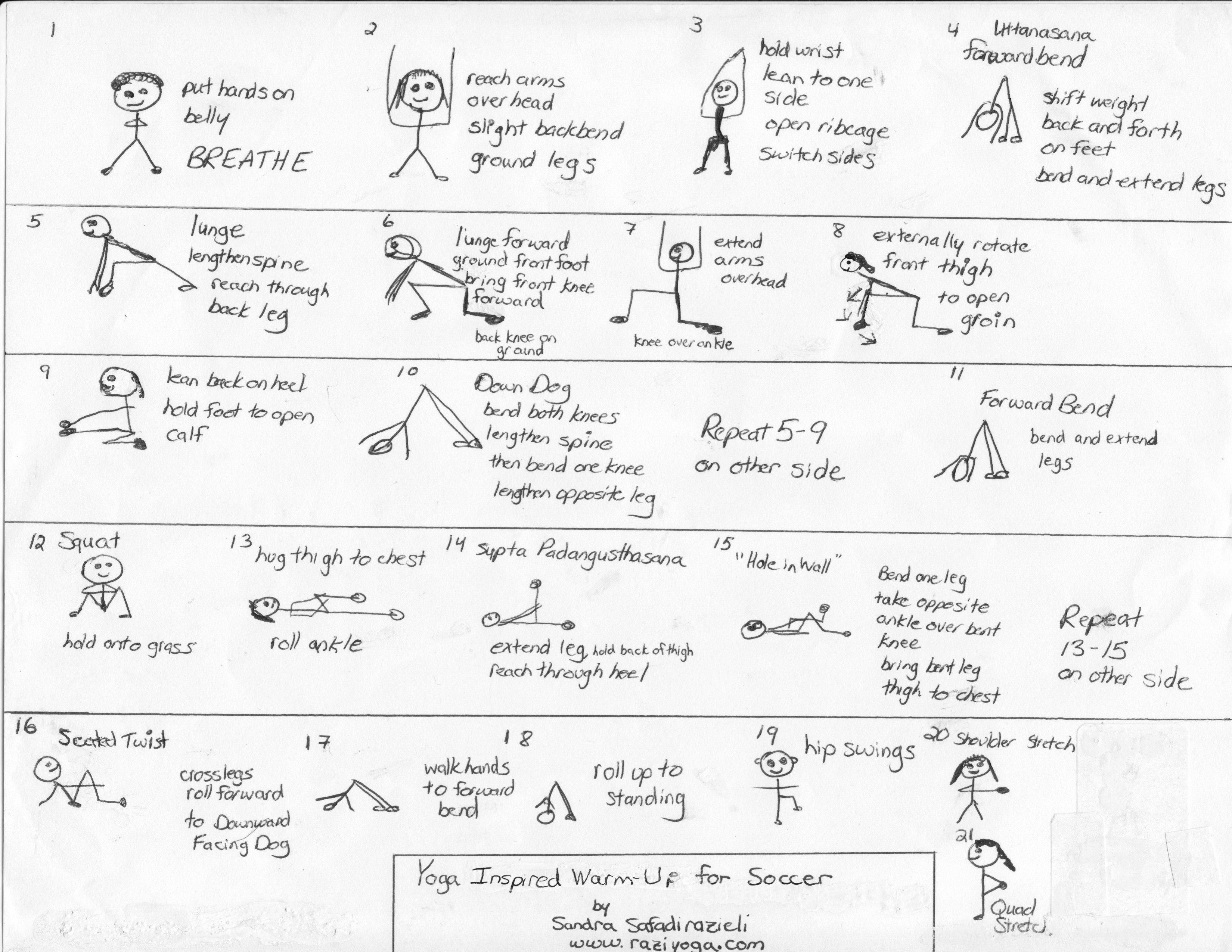 Yoga Sequence For Soccer Players Soccerexercises Warm Up Yoga Soccer Training Soccer Players