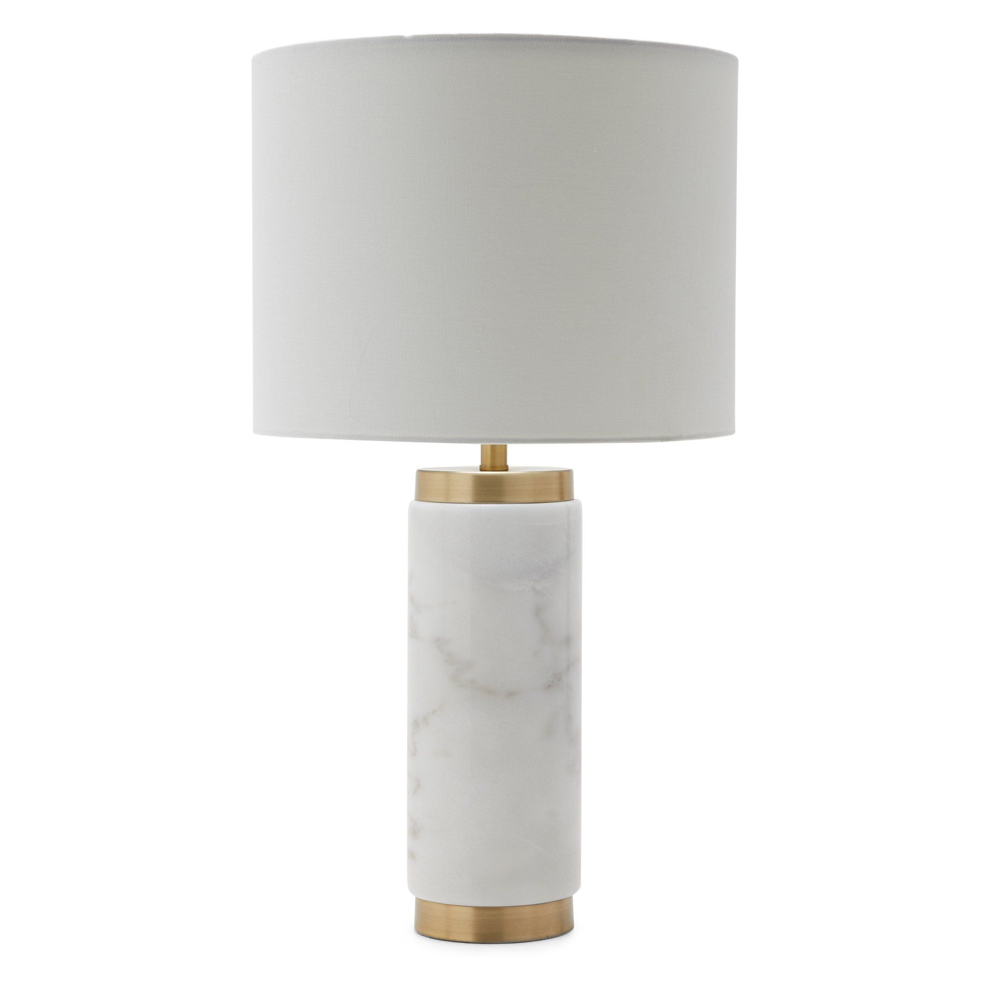 MoDRN Glam Cylinder Marble Table Lamp in