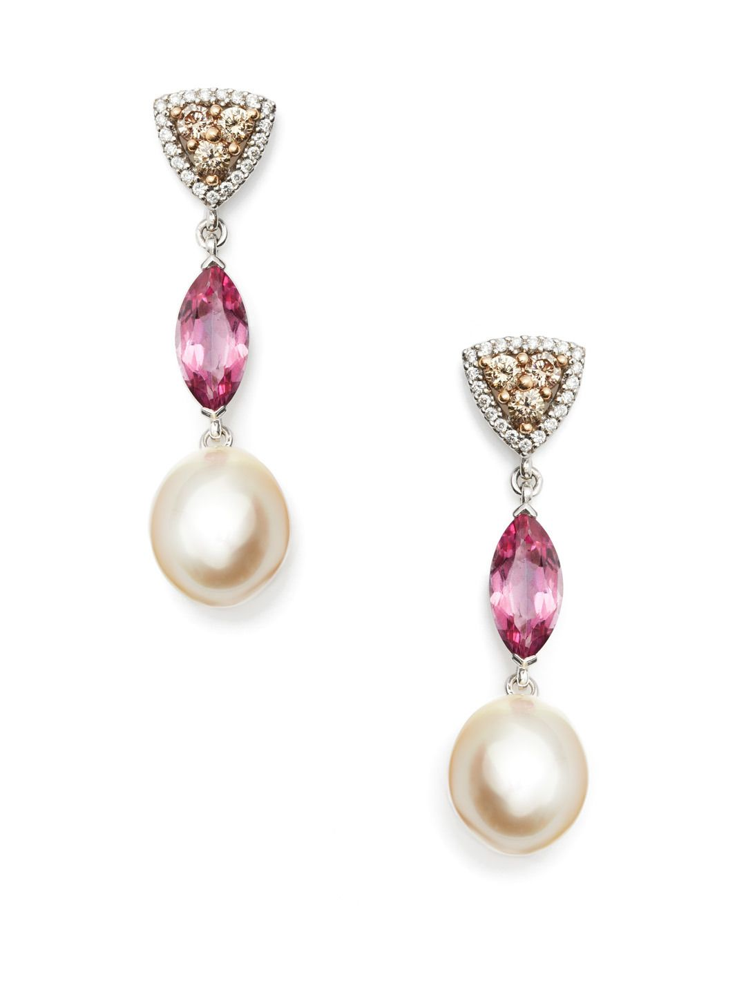 Pink Tourmaline & South Sea Pearl Drop Earrings by Baggins Pearls at Gilt