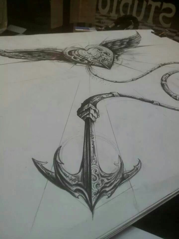 Heart wings anchor tattoo design