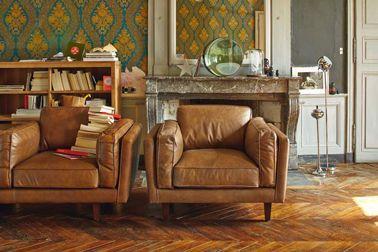 deco salon vintage fauteuil cuir vachette Alinea