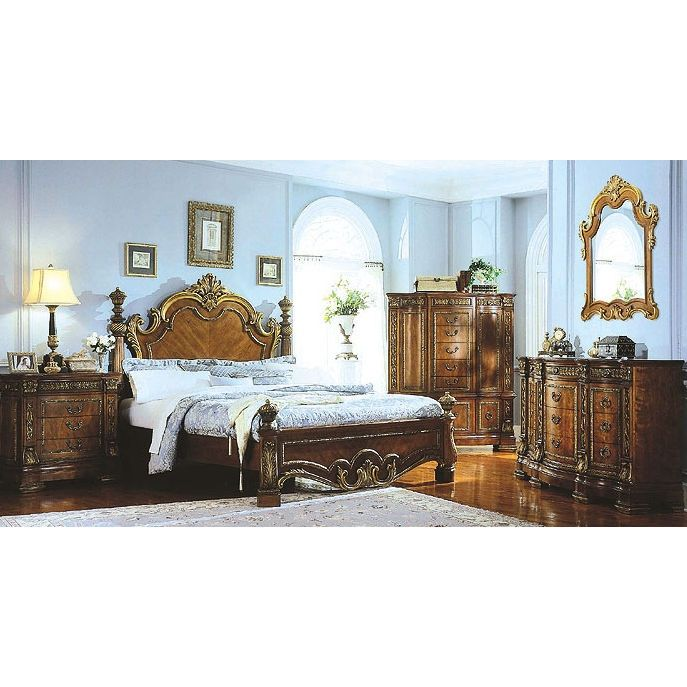 Marvelous Pulaski Royale Low Poster Bed Bedroom Set With Stone Top Nightstand