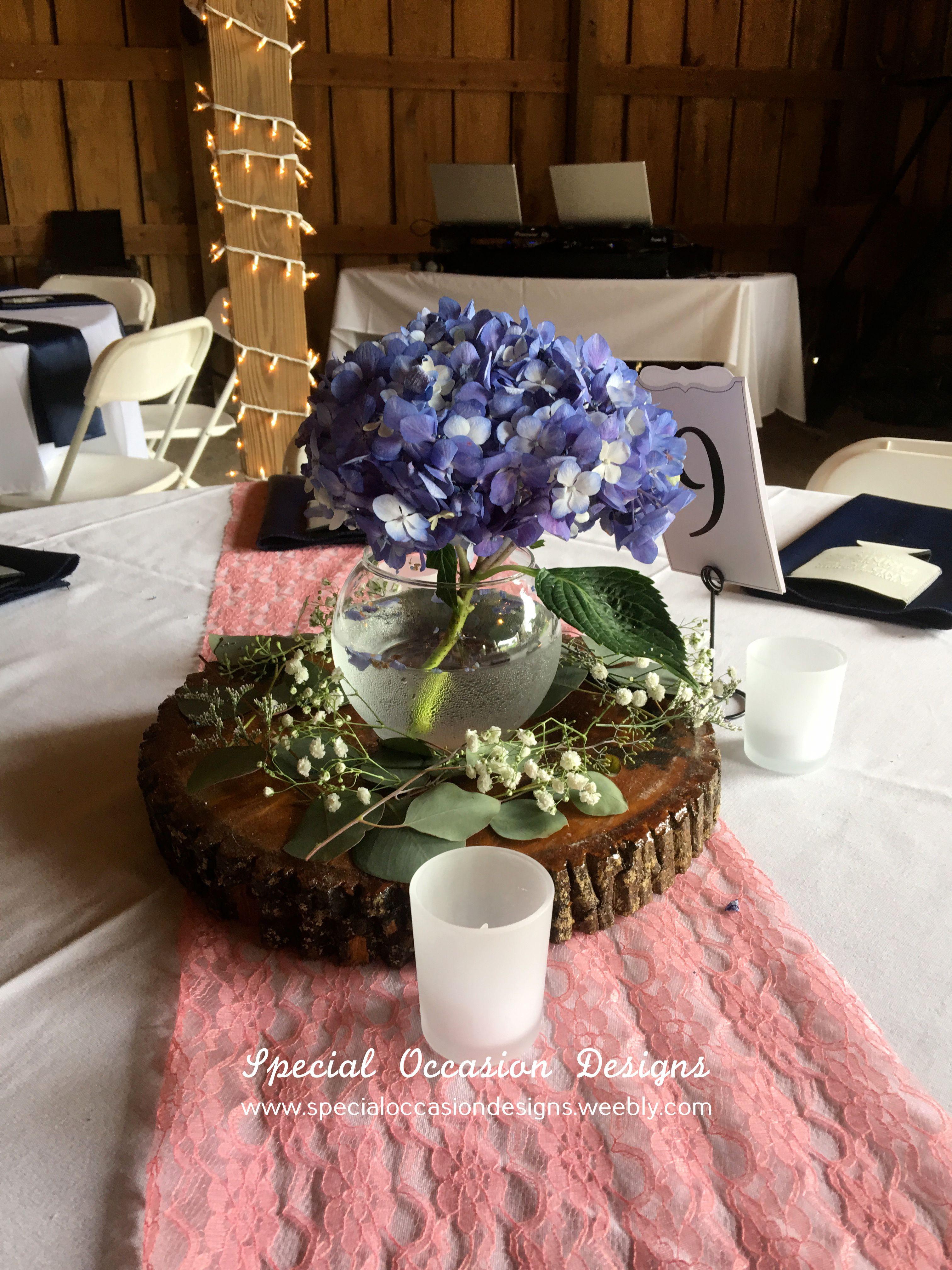 Rustic Hydrangea Centerpiece Blue Hydrangea In Bubble Bowl On Wood