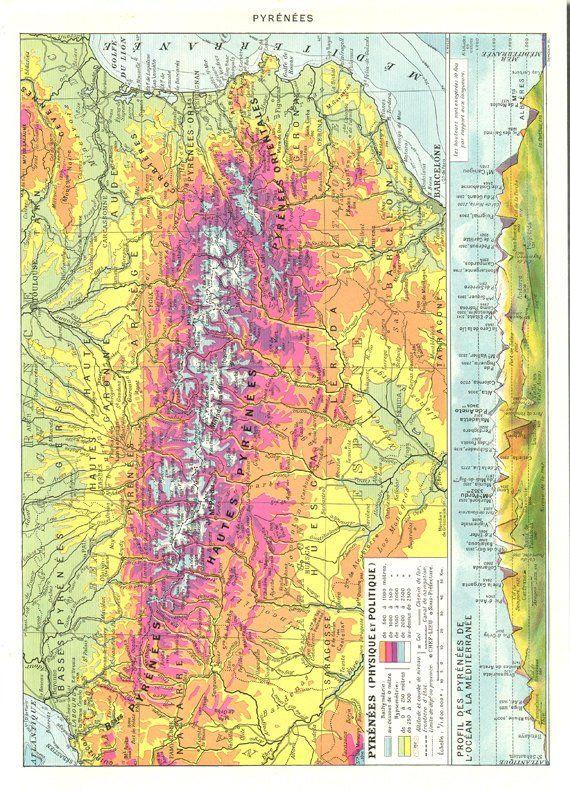 Pyrenees 1936 Vintage Map Wall Hanging Pyrenees Map Mountain Map