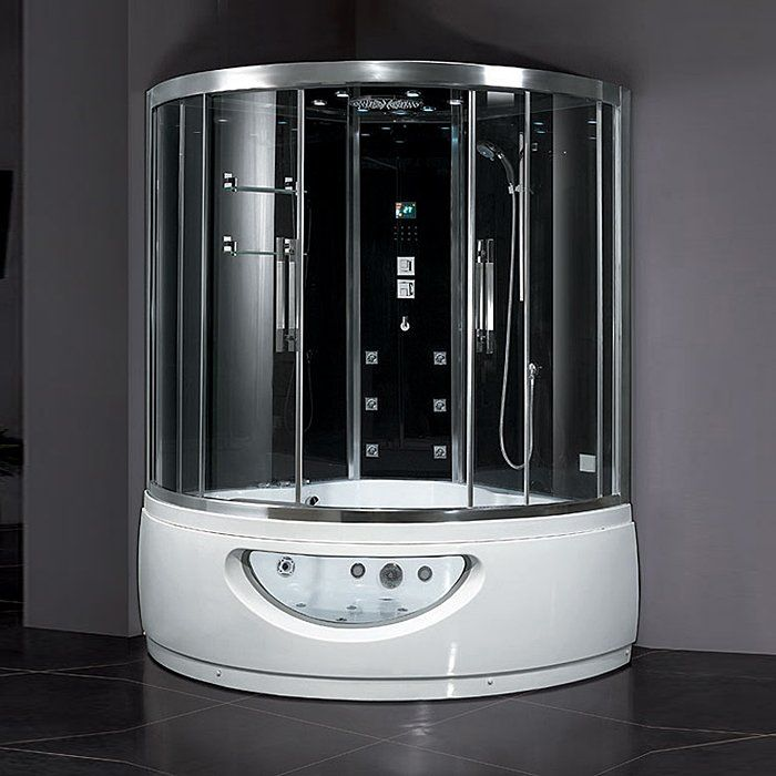 Ariel 608 Steam Shower With Whirlpool Tub Clear Steam Shower
