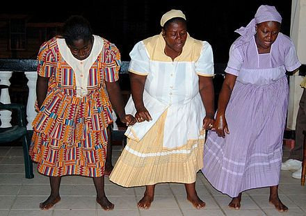 Traditional Garifuna dancers in Dangriga, Belize