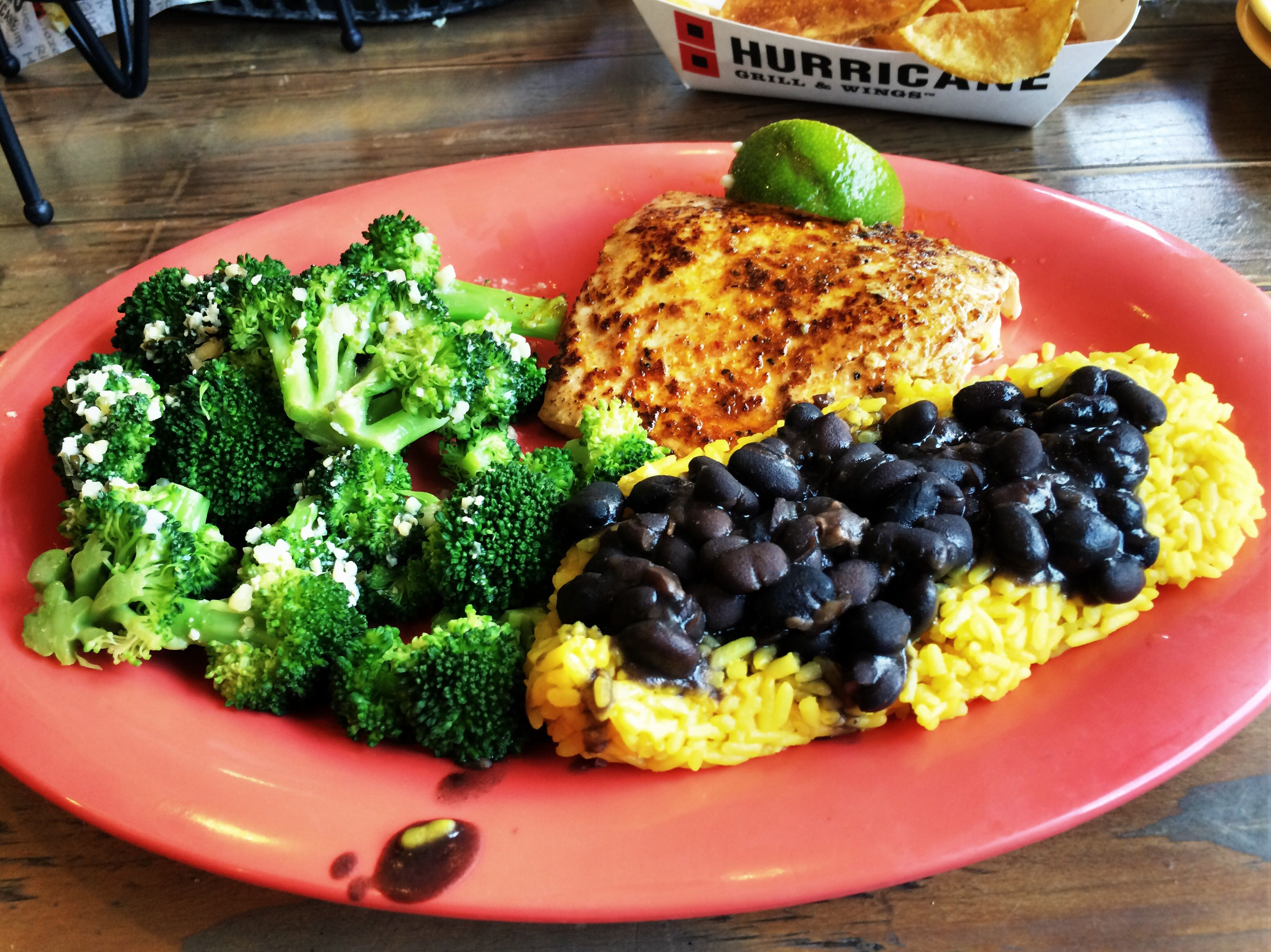 Habanero and lime Salmon with rice and broccoli from Hurricane Grill ...