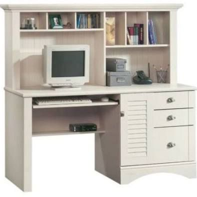 sauder harbor view computer desk with hutch antiqued white box 2 of 2