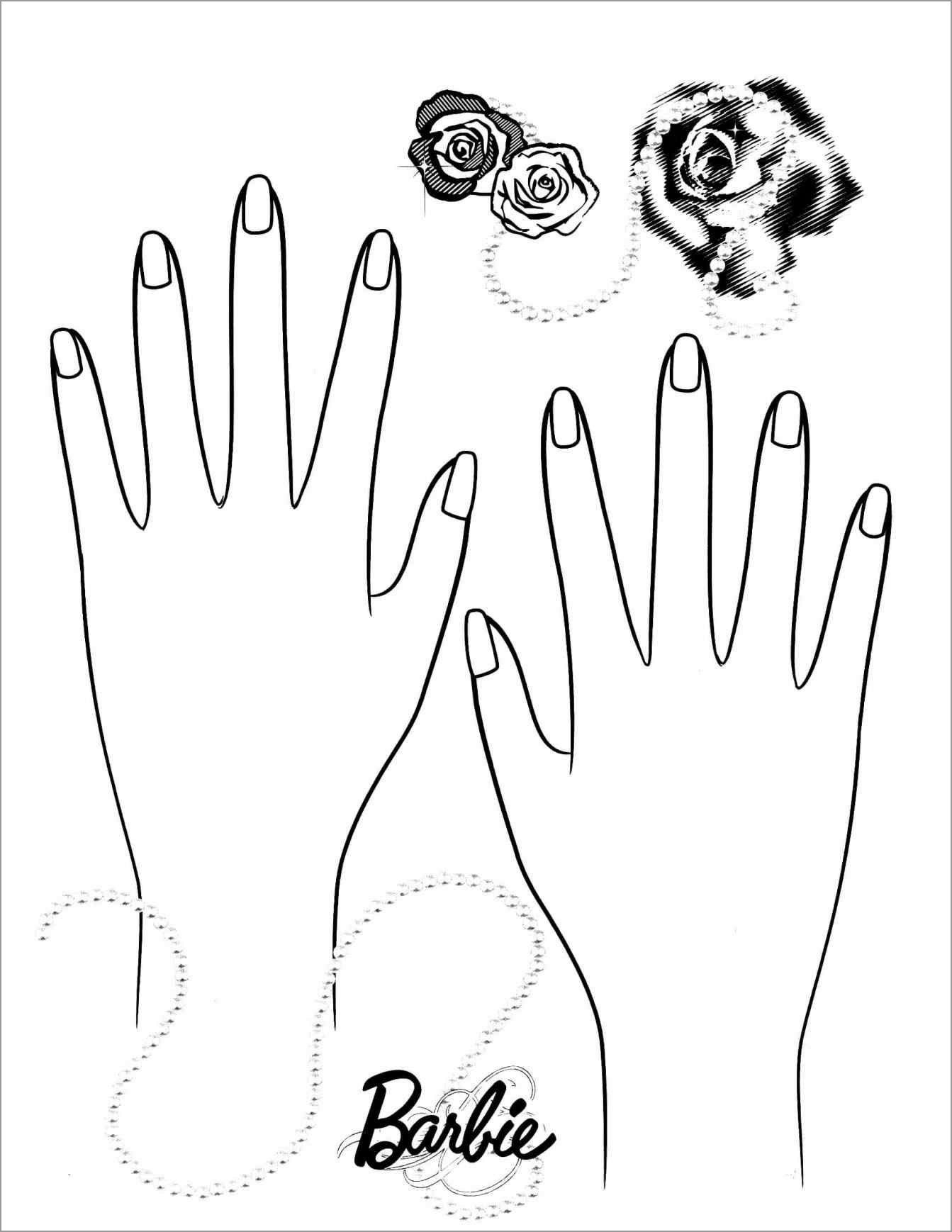 Barbie Nail Coloring Page Free Barbie Barbie