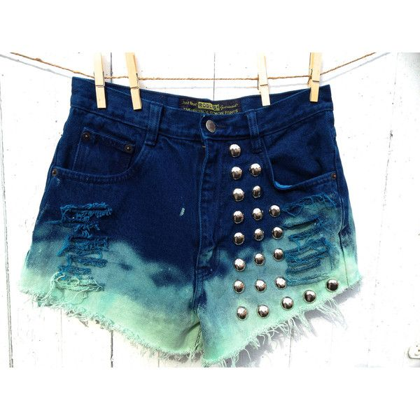 cool acid washed dip dyed high waisted shorts with big studs ($45) ❤ liked on Polyvore