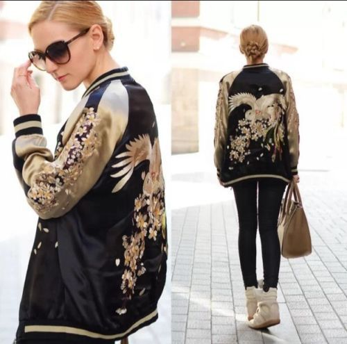 Zara Gold Black Oriental Silk Satin Bomber Jacket  Reversible Bird Embroidered