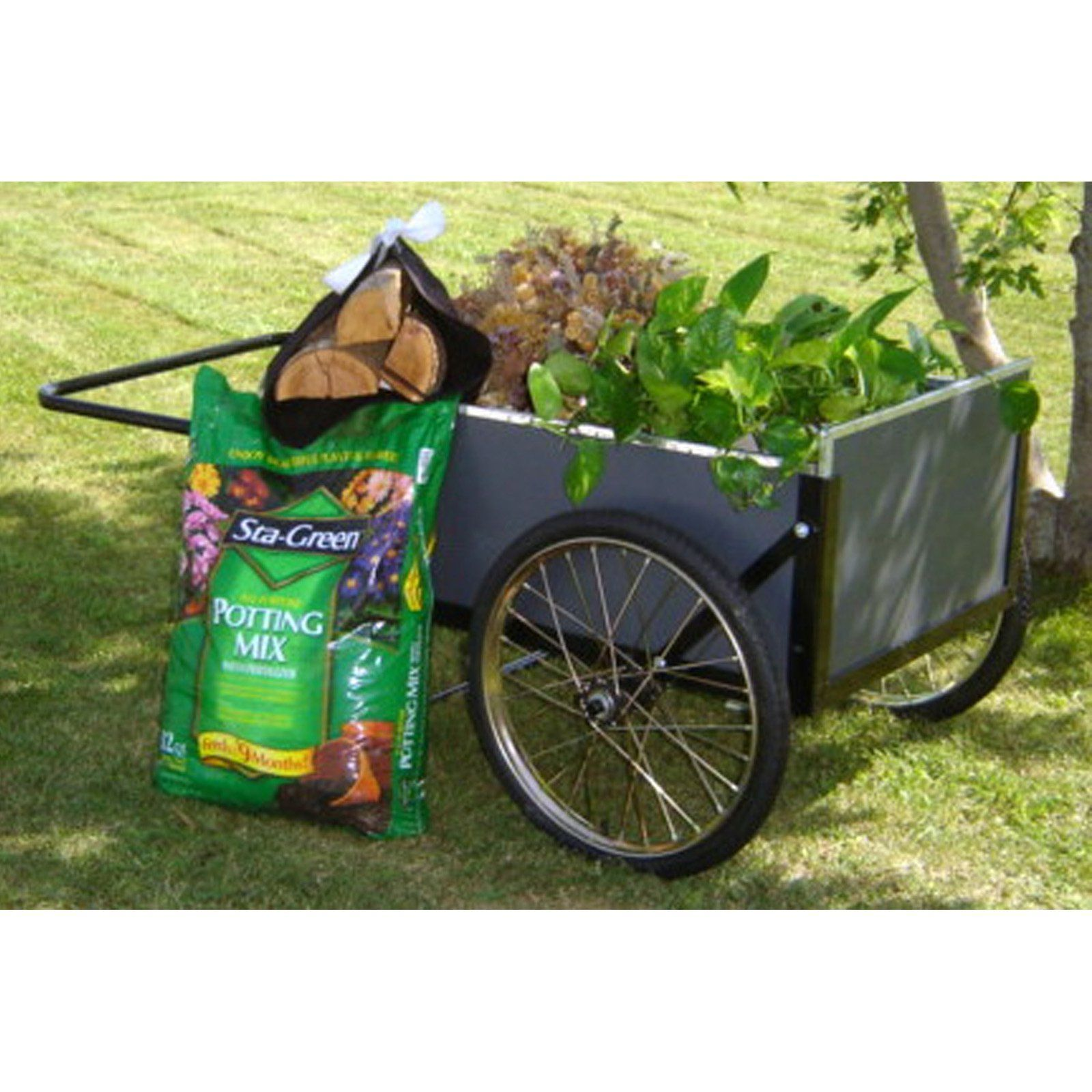 Mid West Economy Wooden Cart Gc 20 With Images Wooden Cart Garden Cart Backyard Decor