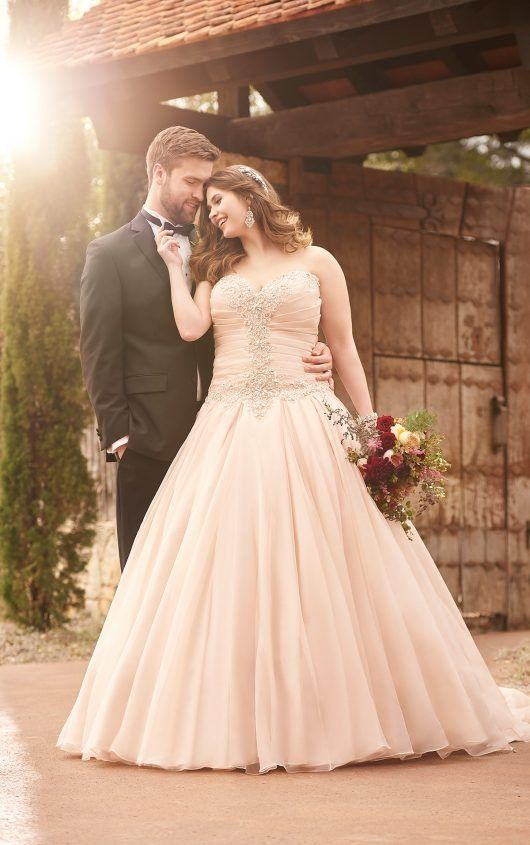 D2031 Plus Size Pink Princess Wedding Dress By Essense Of Australia