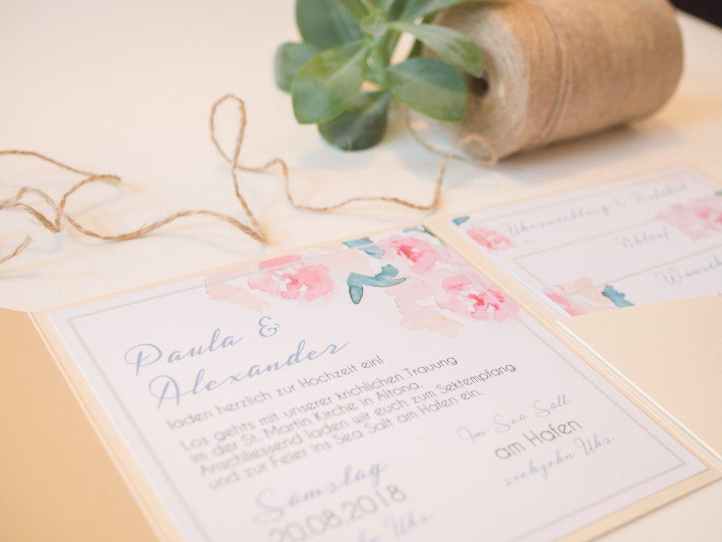 Hochzeitspapeterie Hochzeitsset Pastell Mint Rose Pocketfold Pocketfold Einladung Juhu Papeterie Karlsruhe Beige Hochzeitseinladung Einladungen Juhu