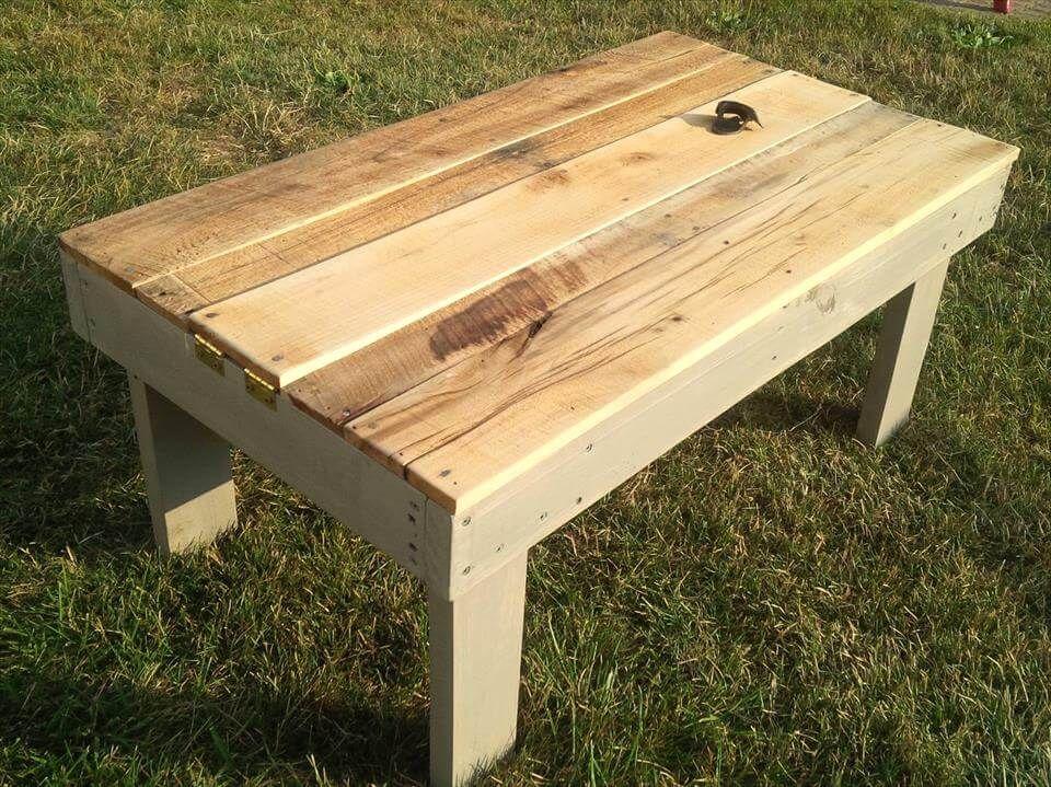 Re Purposed Pallet Secret Beer Cooler U0026 Outdoor Coffee Table   Easy Pallet  Ideas