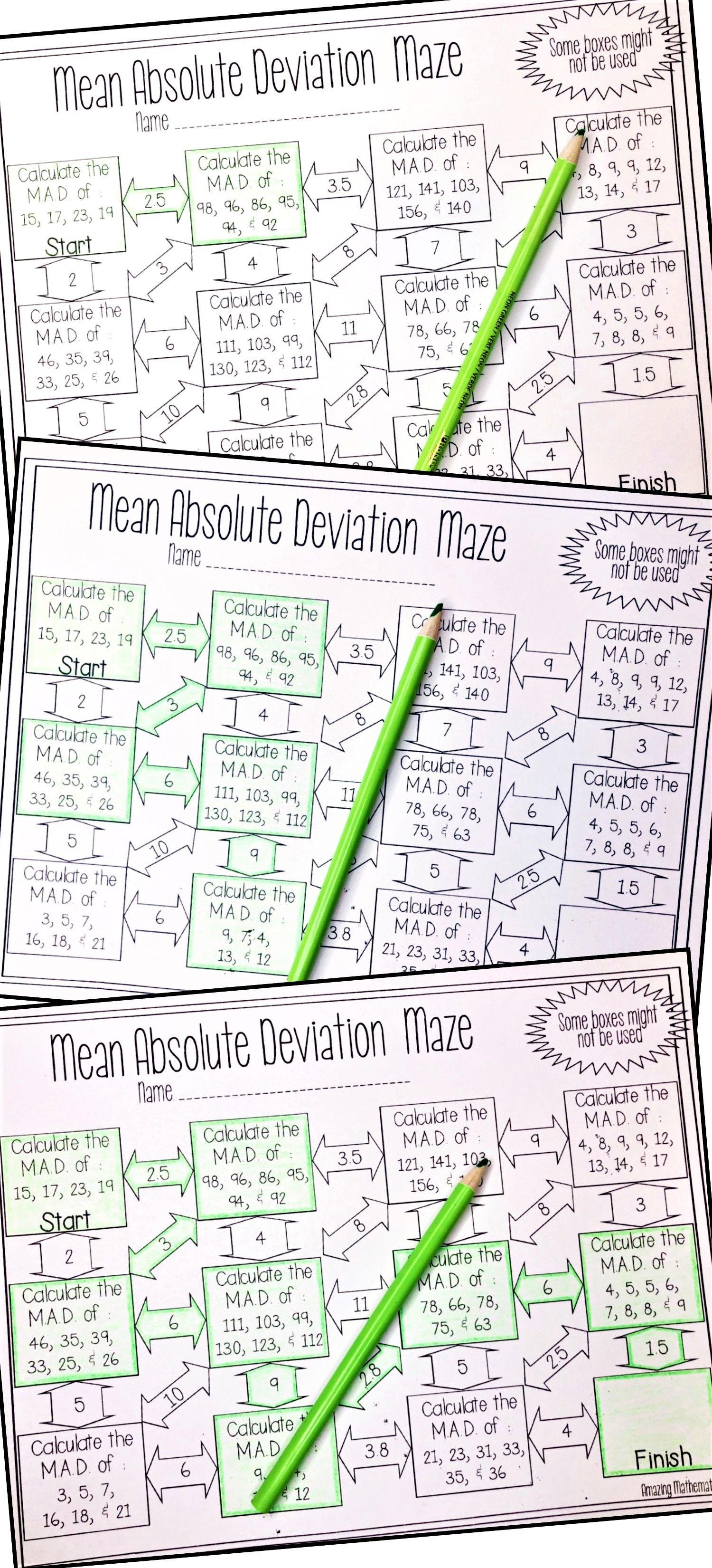 Mean Absolute Deviation Worksheet - Maze Activity   8th grade math  worksheets [ 3300 x 1500 Pixel ]