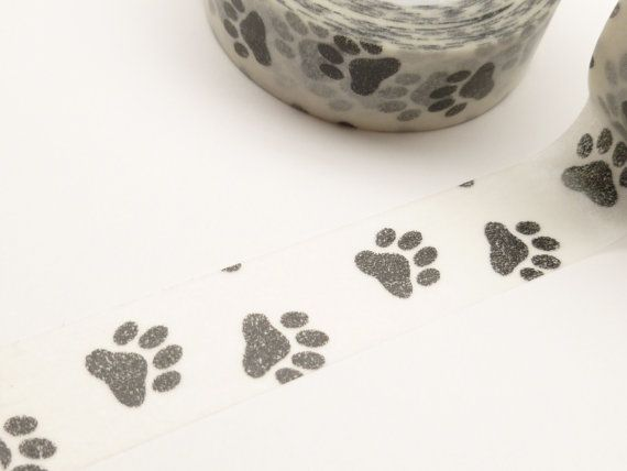 White and Black Paw Print Washi Tape by BellasBeadHabit on Etsy