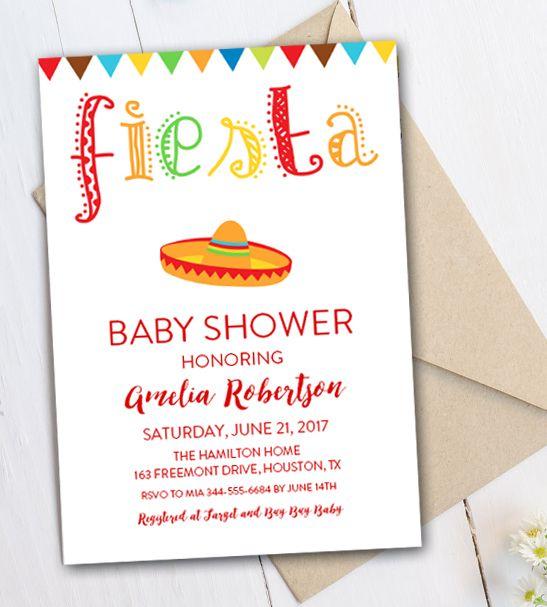 Free Editable Baby Shower Invitation Fiesta PDF Printable