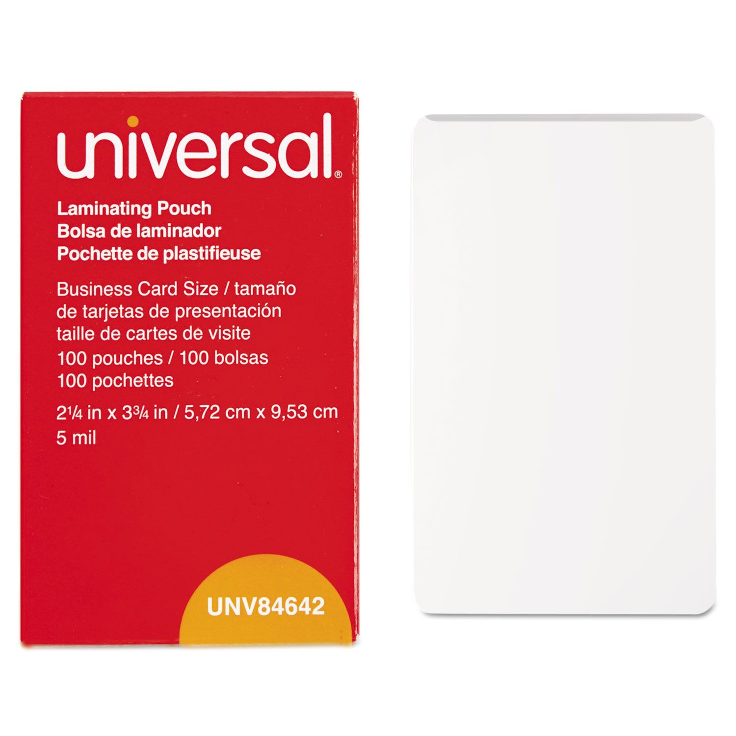 Universal Unv84642 100 Per Box Clear Laminating Pouches 2 1 4 Inch X 3 3 4 Inch 20 Want Additional Info In 2020 Business Card Size Card Sizes Laminated Machine