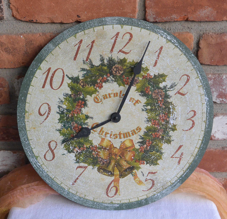 Howard Miller Clock The Carols Of Christmas Battery Plays Etsy Howard Miller Wall Clock Christmas Clock Clock