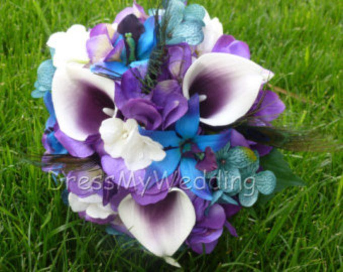 Galaxy orchid bridal bouquet, calla lily, turquoise purple bouquet, faux flower, bridal bouquet, real touch calla, velvety orchids #bridalbouquetpurple