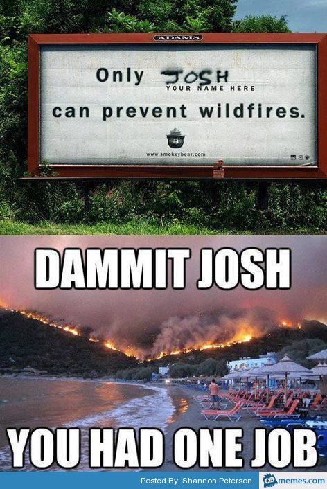 only josh can prevent forest fires dammit you had lol funny