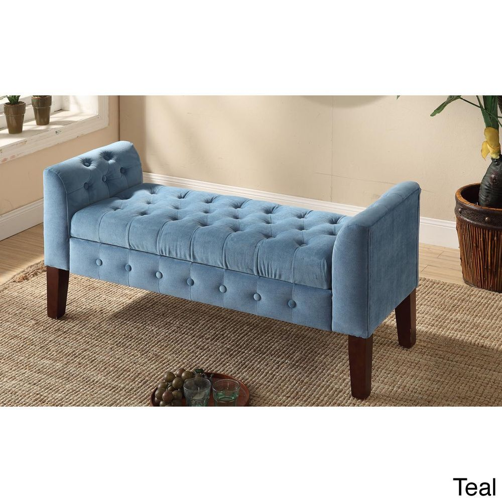 Best Homepop Velvet Tufted Storage Bench Settee By Homepop 400 x 300