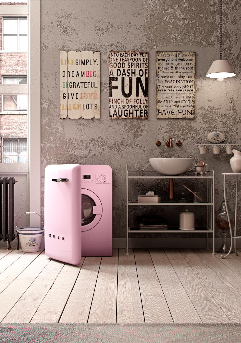 Smeg washing machine wmfab pink madeinitaly - Pink smeg washing machine ...