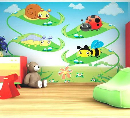 beautiful animals cartoon wall murals stickers in kids bedroom design ideas creative bedroom wall murals ideas - Wall Design For Kids