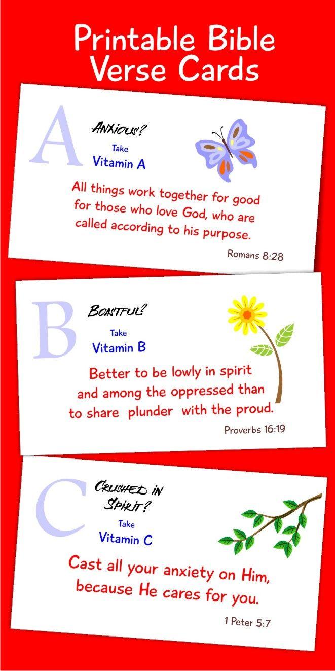 Printable bible cards spiritual vitamins a to z