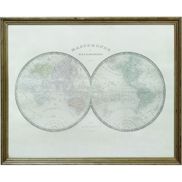 """Wood Framed Map Wall Décor 39-1/2""""L x 31-1/2""""H Distressed Material Wood Style Vintage"""