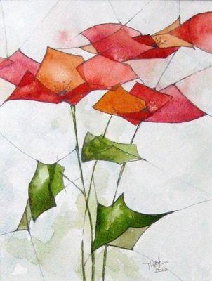 Red Poppies - The Incredible Watercolor Paintings of Dmitriy Rebus Larin