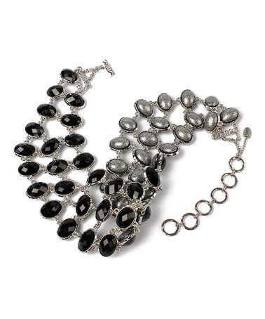 $57.99 Another great find on #zulily! Black & Gunmetal Hamptons Evening Reversible Bib Necklace #zulilyfinds