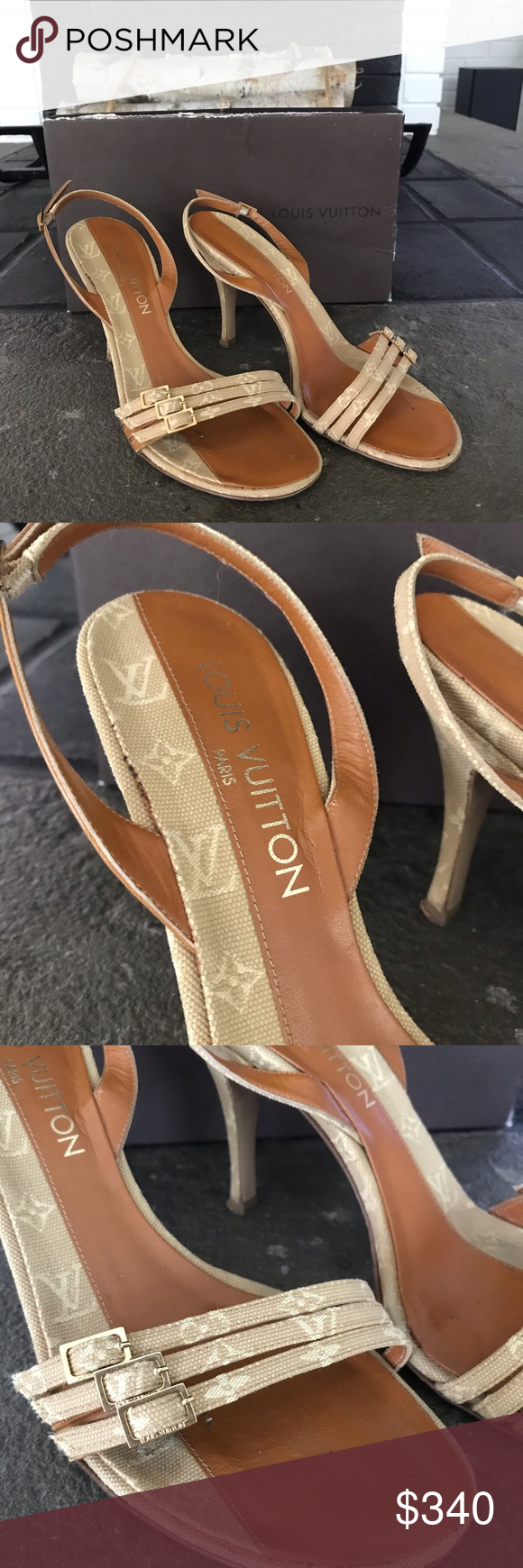 Authentic Louis Vuitton Monogram Sandal Heels Worn a ...
