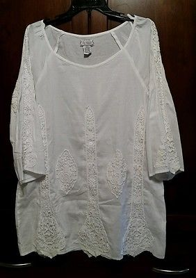 Women's Medium Lilly Mason White Boho Embroidered Shirt 3/4 Sleeve Beach Coverup