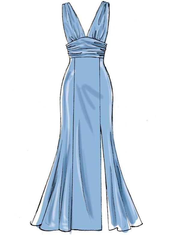 Sewing Pattern Misses Formal Gown Pattern, Strapless Dress Pattern, Front Split Gown Pattern, McCalls Sewing Pattern 7896