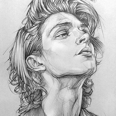 Photo of pencil drawing portrait Toh-Yasu藤保 #031, 藤保 Toh-Yasu