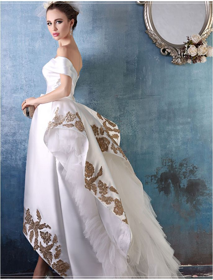 Vintage Style Off Shoulder White Ball Gown
